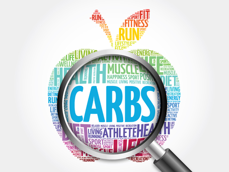 overeat: Carbs apple word cloud with magnifying glass, health concept