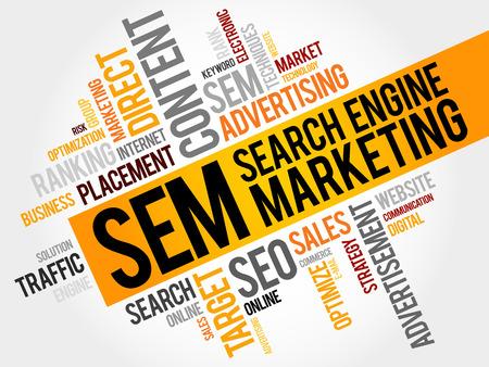 SEM (검색 엔진 마케팅) 워드 클라우드 비즈니스 개념