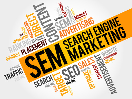 SEM (Search Engine Marketing) woordwolk business concept