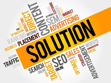 reasoning: SOLUTION word cloud, business concept Illustration