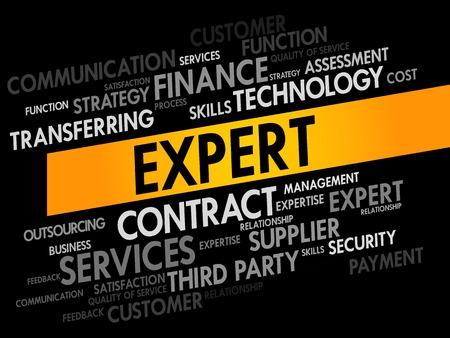 extensive: Expert words cloud, business concept