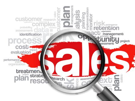 relationsip: Sales word cloud with magnifying glass, business concept