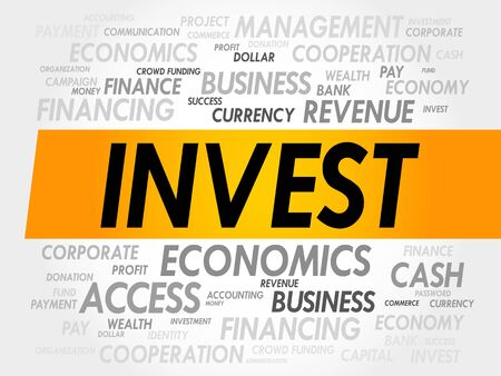 debt collection: INVEST word cloud, business concept
