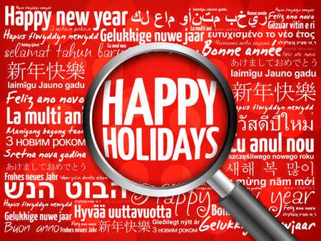 idiomas: Buenas fiestas, feliz año nuevo en diferentes idiomas fondo rojo, tarjeta de felicitación de la celebración con la lupa Foto de archivo