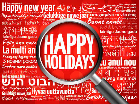 happy holidays card: Happy Holidays, Happy New Year in different languages red background, celebration greeting card with magnifying glass Stock Photo