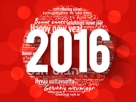 celebrate: 2016 Happy New Year in different languages, celebration word cloud greeting card