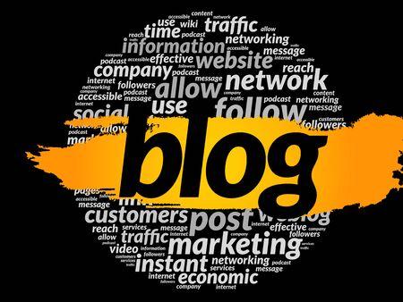 podcasts: BLOG word cloud, business concept Illustration