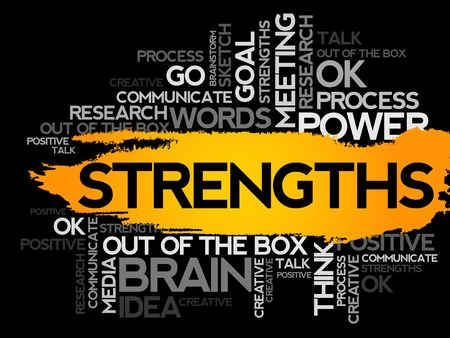 strengths: STRENGTHS. Word business collage, vector background