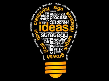 Ideeën Sphere Bulb woorden Cloud, business vectorconcept Stockfoto - 47752571