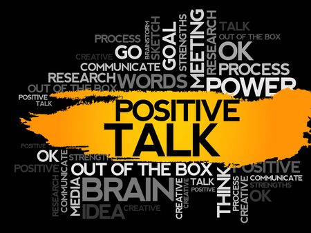 business collage: POSITIVE TALK. Word business collage, vector background