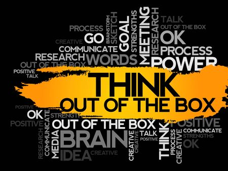 think out of the box: THINK OUT OF THE BOX. Word business collage, vector background