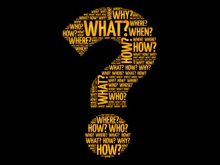 Question mark, Question words vector concept Çizim