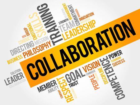 collaboration team: COLLABORATION word cloud, business concept Illustration
