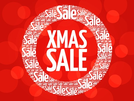 xmas: XMAS SALE circle stamp word cloud, business concept