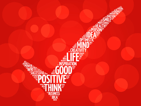 pensando: Positivo marca de verificaci�n pensamiento, palabras concepto de negocio vector nube