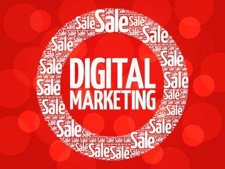 decoding: Digital Marketing stamp vector words cloud, business concept background