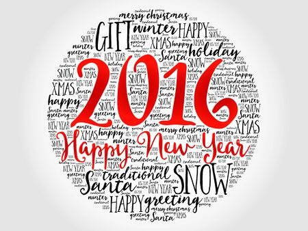 happy holidays: 2016 Happy new year circle word cloud, holidays lettering collage Illustration