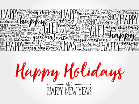 word collage: Happy Holidays. Christmas background word cloud, holidays lettering collage