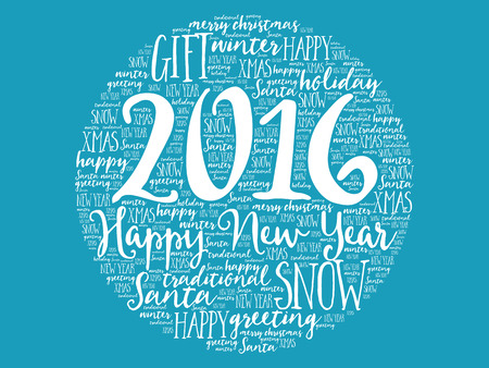 collage art: 2016 Happy new year circle word cloud, holidays lettering collage Illustration