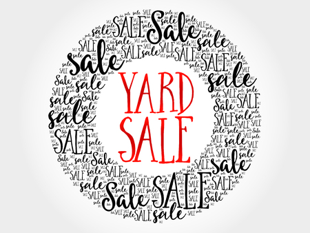 unwanted: YARD SALE circle word cloud, business concept background Illustration