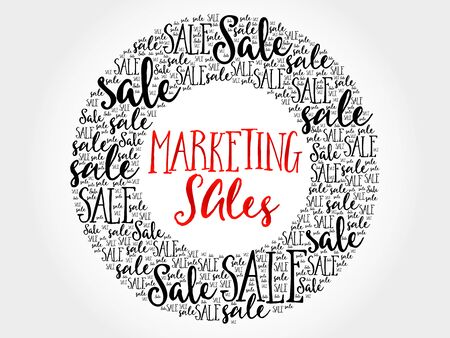 Marketing SALES circle word cloud, business concept background
