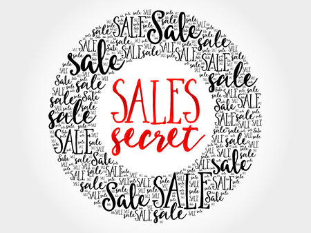 secret word: Sales Secret circle word cloud, business concept background