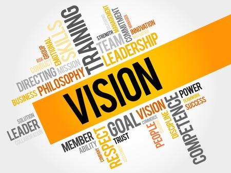liderazgo empresarial: VISIÓN nube de la palabra, concepto de negocio