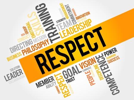 respetar: RESPETO nube de la palabra, concepto de negocio