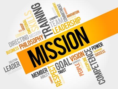 ミッションの単語の雲、ビジネス コンセプト