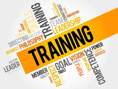 TRAINING word cloud, business concept Vectores