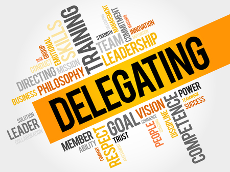 DELEGATING word cloud, business concept