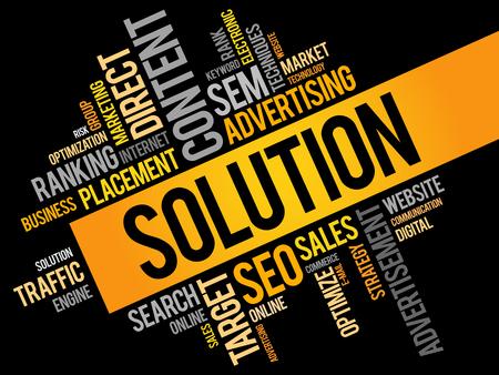 solution: SOLUTION word cloud, business concept Illustration