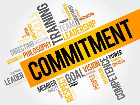 コミットメントの単語の雲、ビジネス コンセプト