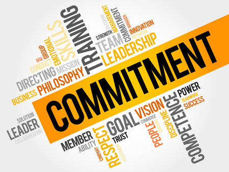 Commitment word cloud, business concept Stok Fotoğraf - 48126518