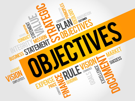 relationsip: Objectives word cloud, business concept Illustration