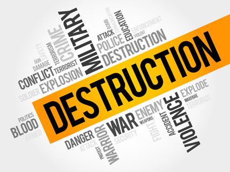 geopolitics: DESTRUCTION word cloud concept Illustration