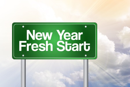 fresh start: New Year Fresh Start green road sign, business concept Stock Photo