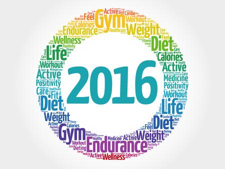 santé: 2016 cercle nuage de mot, le concept de la santé de fond