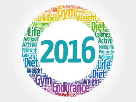 new solutions: 2016 circle word cloud, health concept background