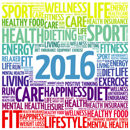 wellness background: 2016 health word cloud, concept background