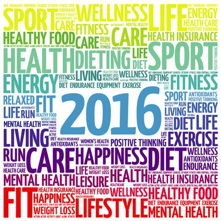salud: 2016 palabra salud nube, concepto de fondo
