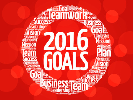 superacion personal: 2016 Goals circle word cloud, business concept background