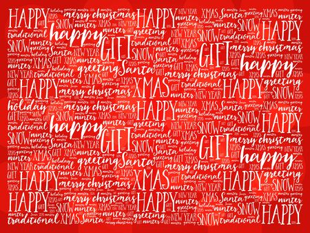 happy hanukkah: Happy Holidays and Christmas background word cloud, holidays lettering collage Illustration