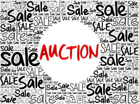 barter: AUCTION word cloud background, business concept Illustration
