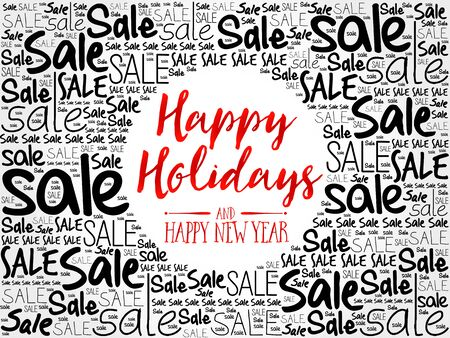 happy holidays: Happy Holidays and Happy new year word cloud background, business concept