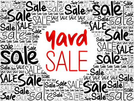 unwanted: YARD SALE word cloud background, business concept