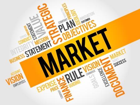 marketer: Market word cloud, business concept Illustration