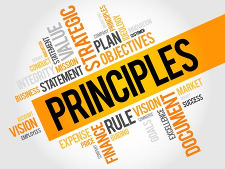 principles: Principles word cloud, business concept