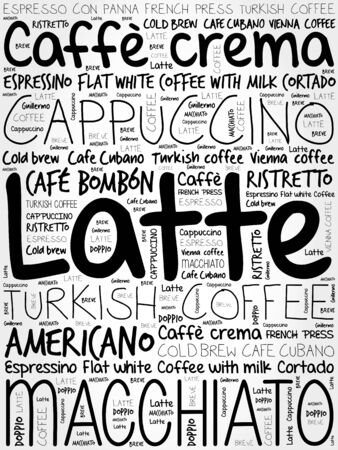 cloud tag: List of coffee drinks words cloud, poster background Illustration
