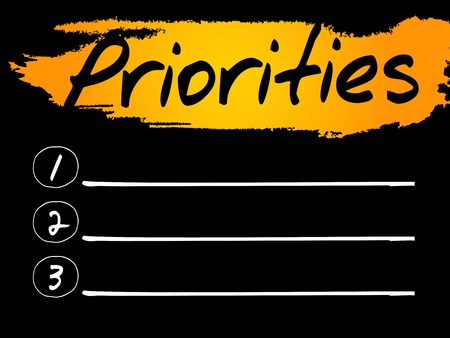 priorities: Priorities Blank List concept background